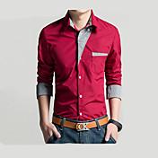 Camisa De los hombres Un Color Casual / Trabajo / Formal-Algodón-Manga Larga-Negro / Rojo / Blanco