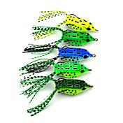 """5 個 ソフトベイト ルアー ソフトベイト カエル グリーン イエロー ライトグリーン フォレストグリーン ブルー グラム/オンス,55 mm/2-1/4"""" インチ,硬質プラスチック 海釣り 川釣り ルアー釣り"""