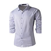 Camisa De los hombres Un Color Casual / Trabajo-Algodón-Manga Larga-Negro / Azul / Blanco