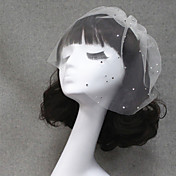Velos de Boda 1 capa Corto o Blusher Velo para cabello corto Corte de borde Tul Blanco Marfil