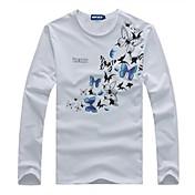 Camiseta De los hombres Estampado-Casual-Algodón-Manga Larga-Negro / Blanco / Gris