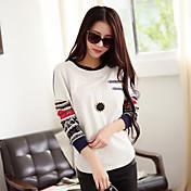De las mujeres Simple Casual/Diario Otoño Camiseta,Escote Redondo Estampado Manga Larga Blanco Medio