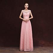シース/コラムスクープネックフロアの長さチュールアップリケ付きのウエディングドレス