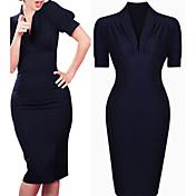 WOMEN - セクシー / ボディコン / パーティー - ドレス ( コットンブレンド Vネック - 半袖
