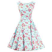 De las mujeres Línea A Vestido Vintage Floral Hasta la Rodilla Escote Redondo Algodón