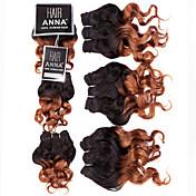 "evetツートンブラジル織り髪処女人間の髪の毛は、ブラジルオンブル髪横糸extensons 3PCS 8 ""105グラム/ロットをバンドル"