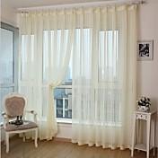 二つのパネル、現代のストライプ白黄色の寝室ポリエステルパネルカーテンドレープ