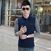 男性用 プレイン カジュアル / オフィス Tシャツ,長袖 コットン / 伸縮素材 / スパンデックス,ブラック / ブルー / ブラウン / グリーン