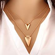 Mujer Collares en capas Forma de Triángulo Legierung Diseño Básico Moda Personalizado Europeo joyería de disfraz Joyas Para Ocasión
