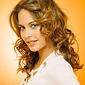 18インチフルレースの髪は女性のための100%の人間の毛髪の完全なレースの波状のスタイルモンゴルバージンヘアのかつらをかつら