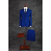 スーツ テイラーフィット ノッチドラペル シングルブレスト 二つボタン コットン混 ソリッド 3点 ロイヤルブルー ストレートフラップ ツータック ブルー ツータック ボタン