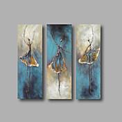 Pintada a mano Abstracto Retratos Abstractos Vertical,Modern Tres Paneles Lienzos Pintura al óleo pintada a colgar For Decoración hogareña