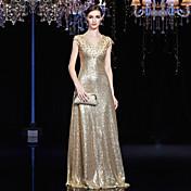 アップリケのビーズを使用したaラインvネックフロアの長さの付いたフォーマルなイブニングドレス