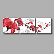 手描きの 抽象画 / 花柄/植物のModern 3枚 キャンバス ハング塗装油絵 For ホームデコレーション
