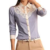 婦人向け カジュアル/普段着 春 シャツ,シンプル シャツカラー ソリッド ブルー ポリエステル 長袖 薄手