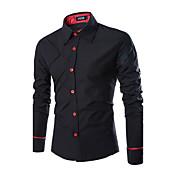 男性用 プレイン カジュアル シャツ,長袖 コットン混 ブラック / ホワイト