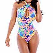 Ženski Jednodijelno / Kaftan za plažu - Grudnjak na vezanje - Bez žice - Color block / S cvjetnim printom - Poliester