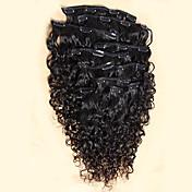 エクステンションカーリー人間の髪の毛織り延長8本/セット100グラムの120グラムクリップ内での熱い販売100%モンゴル人毛クリップ