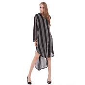 婦人向け カジュアル/普段着 シャツ,シンプル Vネック ストライプ ホワイト / ブラック シルク 長袖 半透明