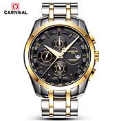 Carnival Hombre Reloj de Moda Cuerda Automática Acero Inoxidable Banda Blanco Dorado