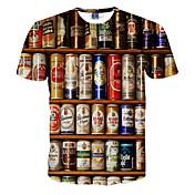 Camiseta De los hombres Estampado-Casual-Poliéster-Manga Corta-Blanco