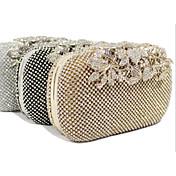 Mujer Bolsos Todas las Temporadas Poliéster Baguette Bolso de Noche con Cristal / Cristal para Boda Evento/Fiesta Formal Dorado Negro