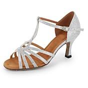 Sapatos de Dança(Azul Vermelho Branco Dourado) -Feminino-Personalizável-Latina
