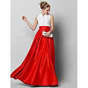 Corte en A Cuello Alto Hasta el Suelo Encaje Satén Baile de Promoción Evento Formal Vestido con Botones Encaje por TS Couture®