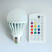 9W E26/E27 Bombillas LED de Globo A60(A19) 3 LED de Alta Potencia 550 lm RGB Regulable / Activada por Sonido / Control Remoto / Decorativa