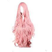 ファッションピンクコスプレウィッグ人工毛の女性の長い波状のアニメのかつらの漫画は、パーティーのかつらをかつら