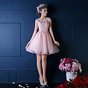 Salón Princesa Escote de ilusión Hasta la Rodilla Encaje Fiesta de Cóctel Vestido con Cuentas Detalles de Cristal Flor(es) Encaje