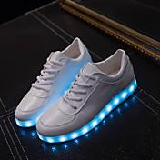 Mujer Hombre-Tacón Plano-Light Up ZapatosExterior Informal Deporte-Semicuero-Blanco