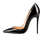 Mujer Zapatos Cuero Patentado Primavera Verano Otoño Pump Básico Tacón Stiletto Remache Para Boda Casual Fiesta y Noche Negro Almendra