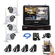 10インチの画面のプラグをyanse®と無線NVRキットP2Pの960pのHD赤外線ナイトビジョンセキュリティIPカメラ無線LAN CCTVシステムを再生