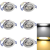 3W 埋込式ライト 3 ハイパワーLED 280 lm 温白色 / クールホワイト 装飾用 AC 85-265 / 交流220から240 / AC 110-130 V 6個
