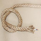 (10m / lot) 2 * 0,75 antiguos doble trenzado de cuerda de cáñamo cable eléctrico cable de luz colgante de la vendimia de punto luces