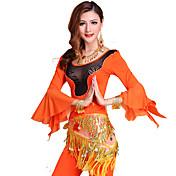Danza del Vientre Accesorios Mujer Entrenamiento Tul Fibra de Leche Drapeado 3 Piezas Mangas largas Cintura MediaTop Pantalones Bufanda