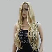 Mujer Pelucas sintéticas Sin Tapa Largo Ondulado Rubio Pelo reflectante/balayage Parte lateral Con flequillo Peluca de Halloween Peluca