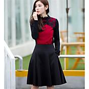 女性 プラスサイズ スカート ゼブラプリントワーク 膝丈 ナイロン マイクロ弾性
