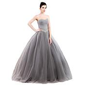 Salón Sin Tirantes Hasta el Suelo Tul Satén Estirado Evento Formal Vestido con Detalles de Cristal por MMHY