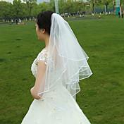 Véus de Noiva Duas Camadas Véu Ponta dos Dedos Borda com Tira Tule Branco