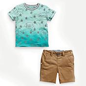 Boy Léto Bavlna Sady oblečení Barevné bloky
