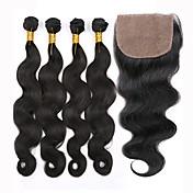 Trama del pelo con cierre Cabello Peruano Ondulado Grande 12 meses 5 Piezas los tejidos de pelo