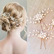 真珠 クリスタル かぶと-結婚式 パーティー コーム ヘアスティック 2個