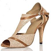 Na zakázku - Dámské - Taneční boty - Latina - Flitry - Podpatek na míru - Zlatá