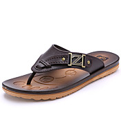 Hombre Zapatillas y flip-flop Confort PU Verano Casual Confort Tacón Plano Negro Marrón Azul