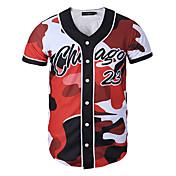 Camiseta De los hombres Estampado-Casual / Trabajo / Formal / Deporte-Poliéster-Manga Corta-Rojo