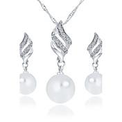 Halskette / Ohrringe Braut-Schmuck-Sets Modisch Künstliche Perle Strass Aleación Gold Silber Halsketten Ohrringe FürHochzeit Party Alltag