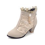 Mujer Zapatos Semicuero Otoño Invierno Botas de Moda Botas Tacón Robusto Botines/Hasta el Tobillo Cremallera Para Vestido Negro Beige Rojo