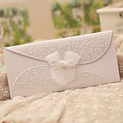 Doblado Triple Invitaciones De Boda 50-Tarjetas de invitación Estilo clásico Con mariposas Tema de ensueño Papel de Perla Cintas
